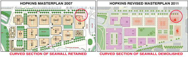 Left:The 2007 Hopkins Architect's Masterplan, retained and incorporate the Sea Wall and Promenade into the overall design. Right: The Hopkins revised Masterplan 'squares off Building 4' and destroys the eastern section of the Wall and Promenade, and the sightline of the abattoir arch.