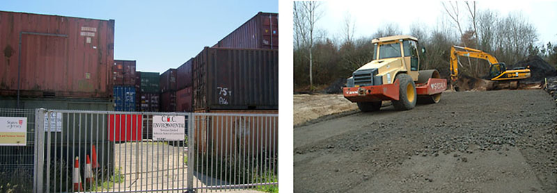 Left: hazardous asbestos stockpiled at La Collette. Right: If treated would be safe and could be used for road construction.