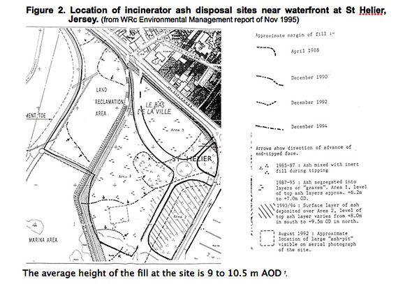 A detailed map produced by independent consultants WRc Environmental Management in 1995 showing the extent of the contamination on the Waterfront.