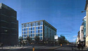 Architect's impression of the first building in the series of 6 planned. The building is planned for the west of Liberation House on the Esplanade.