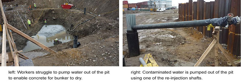 Two of the many photos taken by the Site Supervisor of how the contractors were caught out by the ingress of seawater and struggled to pump it out of the site, the water now contaminated by heavy metals.