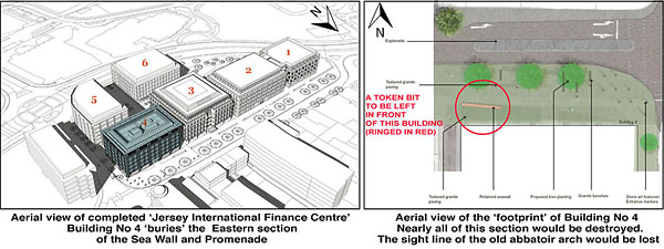 The States of Jersey Development Board's plans for the whole Esplanade site: Note that they have changed the adjacent building (No 5) to follow the curve of the roundabout but squared off Building No 4, to 'bury' the end of the wall and promenade. The drawing on the right shows the token piece of sea wall left.
