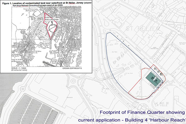 The footprint of the proposed Finance Quarter with the first building shown and (inset) a map produced in 2000 by Arup Rothwell, independent consulting engineers, outlining the contaminated Waterfront area.