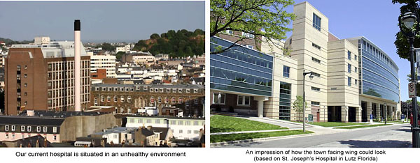 Above left: Our current outdated General Hospital. Above right: how one wing of a new General Hospital may look.