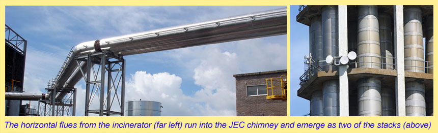 JEC and incinerator shared chimney at La Collette, Jersey showing the shared pipes