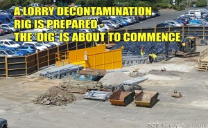 Lorry decontamination station on the Esplanade, Jersey
