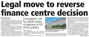 Legal Move to reverse Fianance Centre decision - JEP 25 April 2016 - Save our Shoreline Jersey