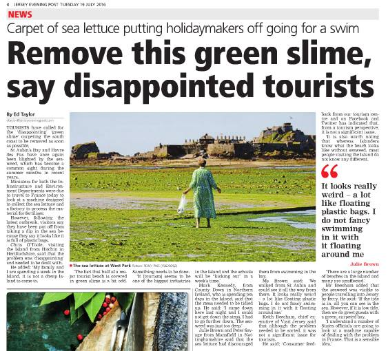 JEP article on sea lettuce problems in Jersey - 19 July 2016 - Save Our Shoreline Jersey