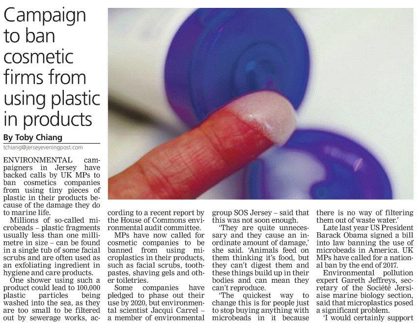 Plastic beads in the water 1 - Jersey Evening Post - SOS Jersey comment