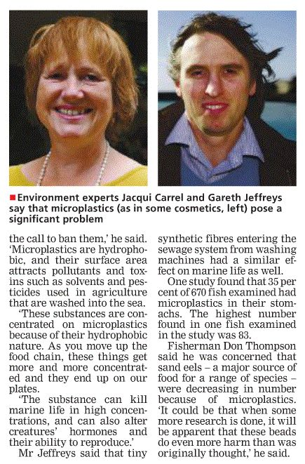 Plastic beads in the water 2 - Jersey Evening Post - SOS Jersey comment