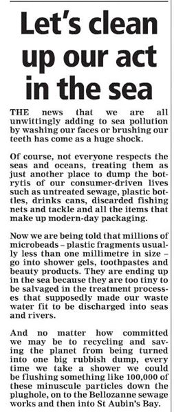 Plastic beads in the water 3 - Jersey Evening Post - SOS Jersey comment