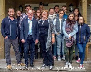 L to R: Thomas Hull (Head of International Relations at Ecole de Metiers de l'Environment, France), Sid Brown (Principal, St Brelade's College, Jersey) and Jacqui Carrel (Environmental Scientist, SOS Jersey), and some of the French Environmental Science students