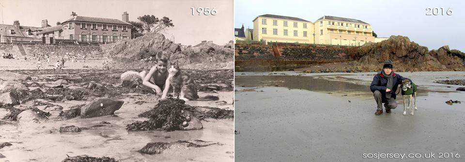 Havre des Pas, Jersey, in 1956 and 2016 - look at the differences