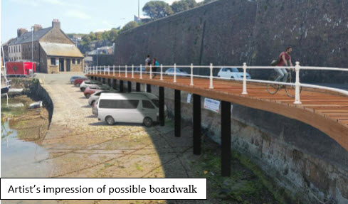 Safer path for pedestrians and cyclists around the French and English harbours?