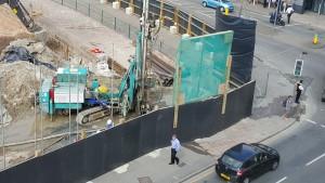 Esplanade works - dust hoarding in one corner